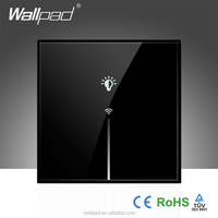Wallpad LED Black Luxury Glass 110~250V EU UK US Standard 1 Gang Wifi Remote Light Controlled WIFI Power Touch Wall Switch