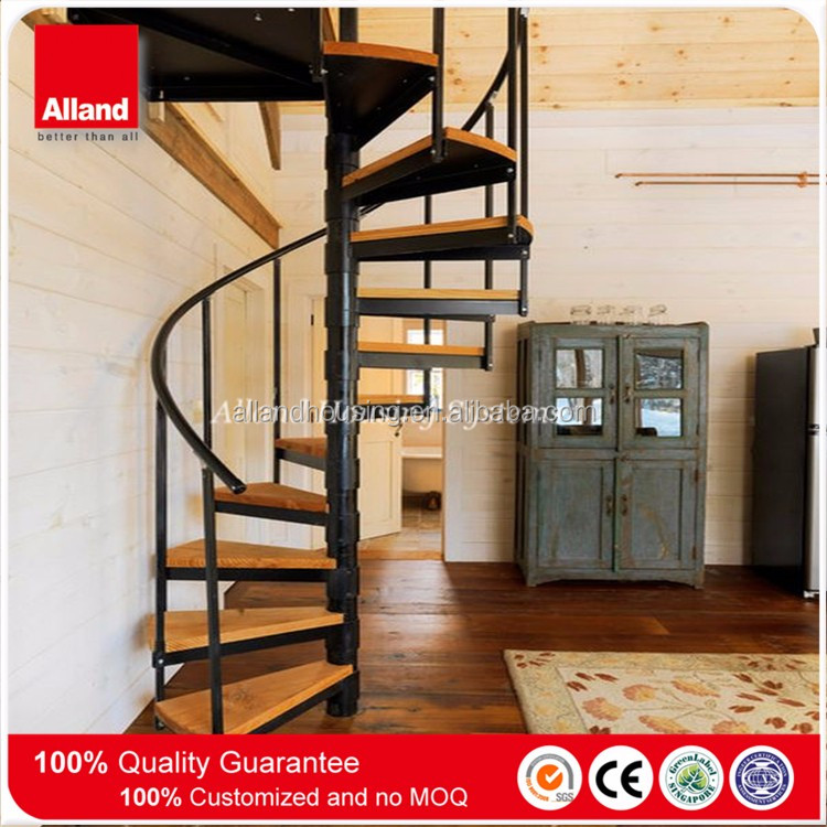 Interior Solid Wood Loft Small Spiral Stairs
