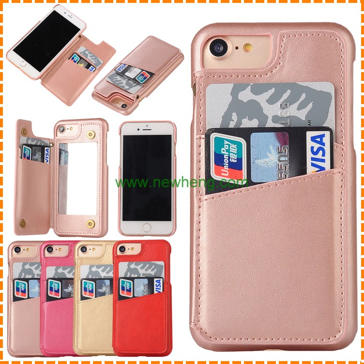 New design Lady Cosmetic Make up Mirror Card Slot Holder Hard Back Cover Leather Case for iPhone 6 6s plus