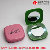 led makeup mirror with light,wholesale square shape plastic pocket mirrors