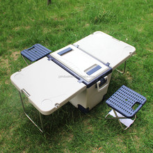 New Function Rolling Cooler with Table and 2 Chairs Folding Outdoor Camping Picnic Table
