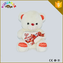 Plush Baby Soft Toy Bear/ High Quality Unstuffed Baby Teddy Bear with Heart and Diamond