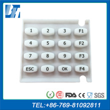 High Quality White WaterProof Edge OEM Membrane Switch Silicone Rubber Keypad Button Keypad For Remote POS