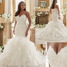 2016 sweetheart appliqued wholesale custom made ruffled mermaid plus size wedding dress CWFw2280