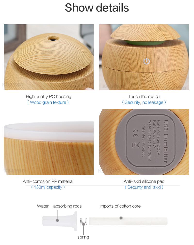 Diffuseur d'huiles essentielles USB KBAYBO bois clair, aromathérapie, caractéristiques, détails