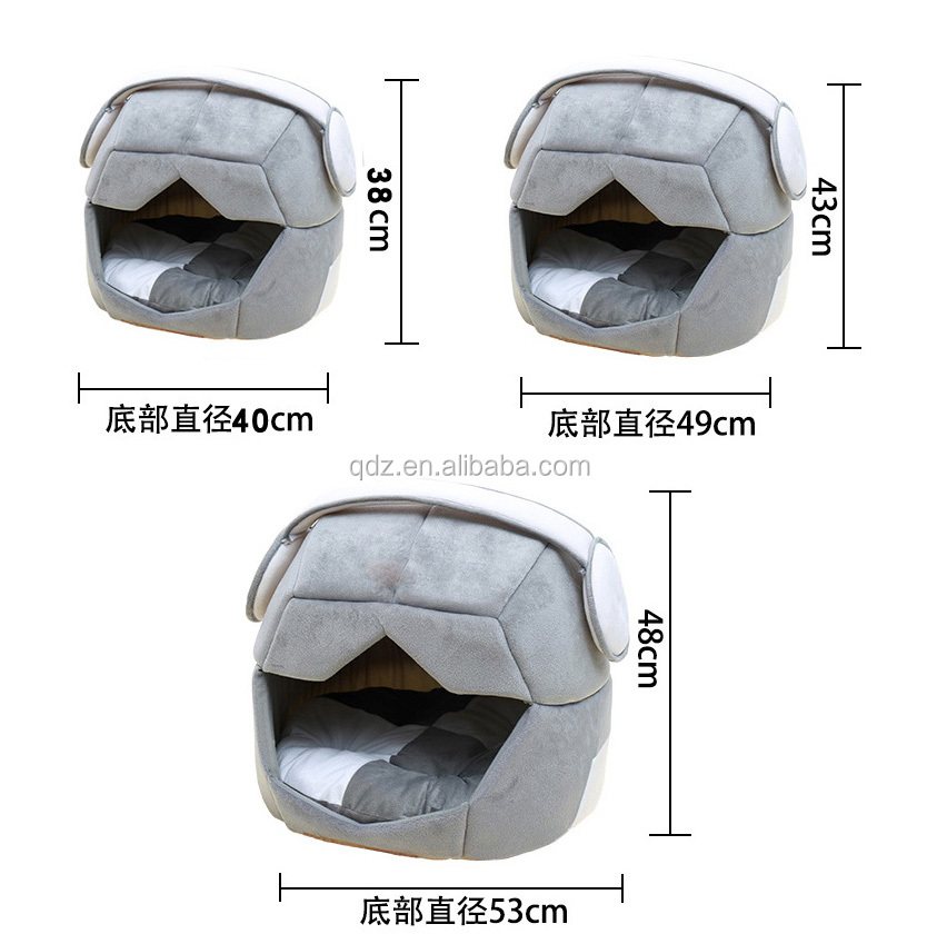 breathable folding dual-use space cap creative Cat House and dog's kennel Soft Fleece House Deformable Removable Cotton Nest