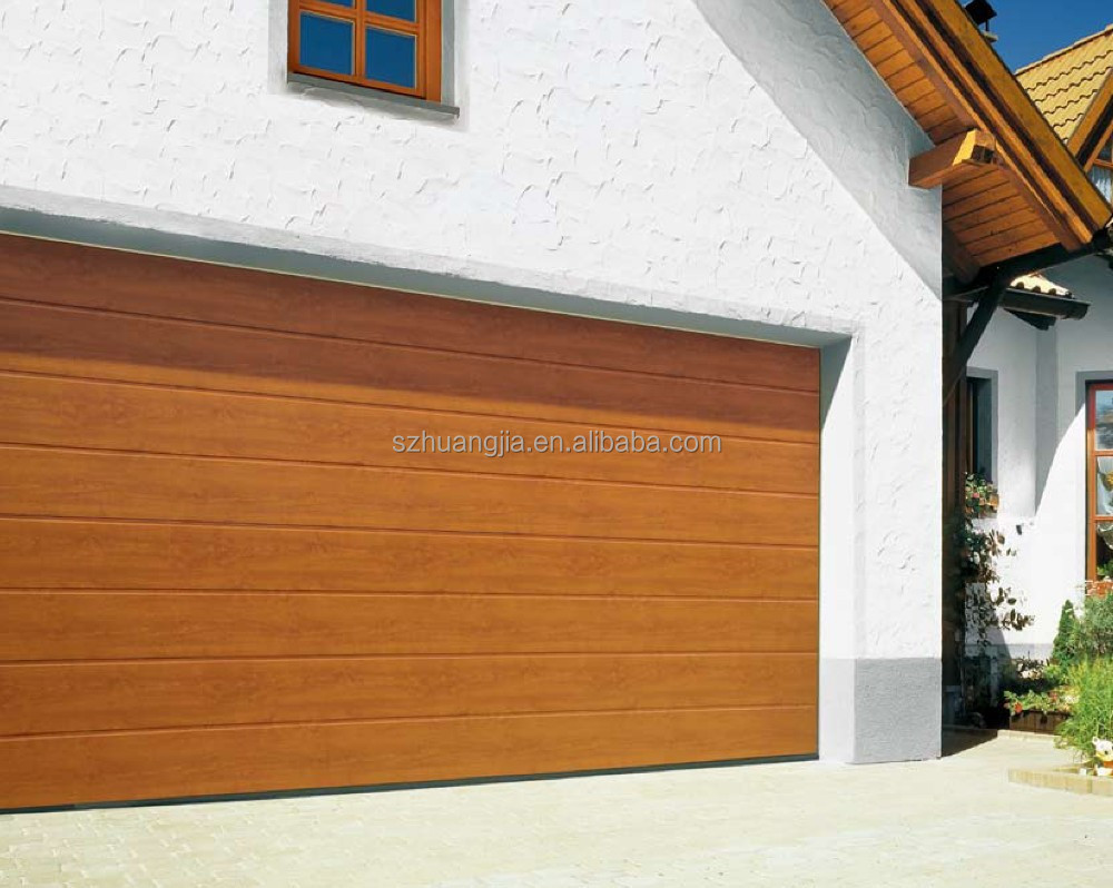 High quality Aluminum wooden grain automatic residential sliding garage door roller