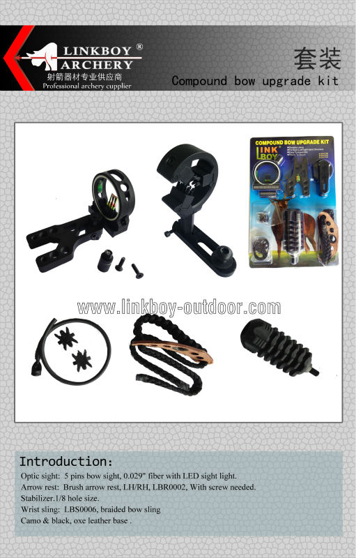Linkboy BUPGRADE KIT COMPOUND BOW - STABILIZER OPTIC SIGHT ARROW REST Peep String6in1set
