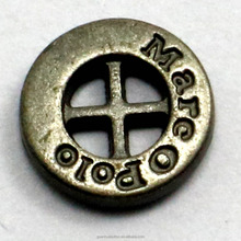 Engraved letter 4-hole button and antic brass button for coat