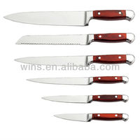 "red wooden handle 8"" chef knife"