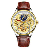TEVISE T820A Luxury Tourbillon Automatic Mechanical Watches Men Self Wind Business Genuine Leather Moon Phase Wristwatches