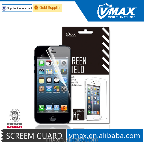 Wholesale 9 Years Supply anti radiation anti-water anti glare 3-layer cell phone clear screen protector for iPhone 5 5c 5s