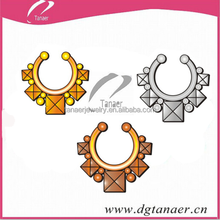 New arrivel Non Piercing Jewelry Clip-On Multi Jeweled Fake Septum Rings