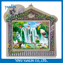 3d waterfall flower and bird picture with plastic cat fish frame hot sale supermarket products