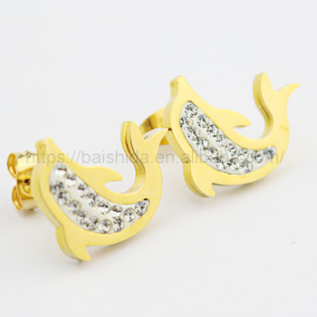 fish shape diamond earrings women saudi gold jewelry accessories