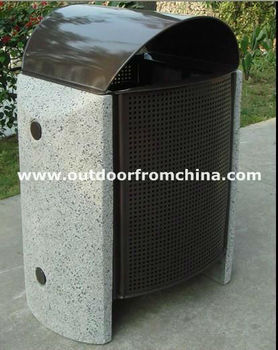 concrete steel outdoor trash receptacle