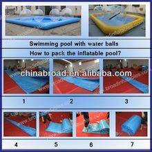 Durable outdoor 0.9mm PVC 0.9mm pvc double lane inflatable swimming pool