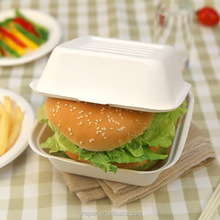 Sugarcane bagasse 6 inch disposable food clamshell hamburger box