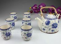 antique blue and white japanese tea set