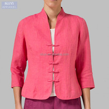 linen fabric blouses Three Quarter pink color bottom-up traditional chinese blouses
