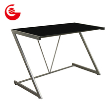 Tempered glass metal frame modern office desktop computer desk