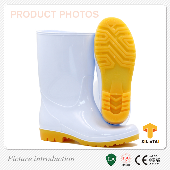 China White PVC Waterproof Ankle Boots