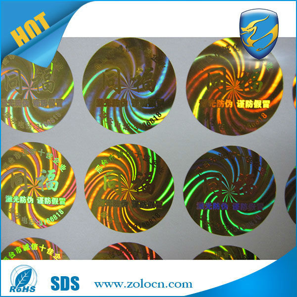 Shenzhen ZOLO factory price high quality rainbow reflective colored holographic sticker round gold holograms