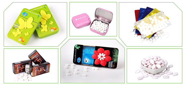 Custom size portable 7g weight mint candy with plastic box packged