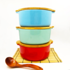 Factory round multi color glazed ceramic stoneware baking gratin bakeware set with bamboo lid