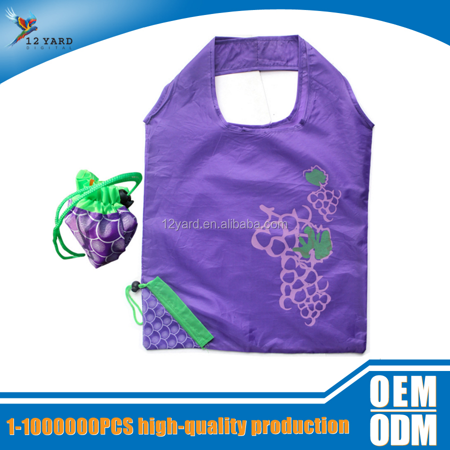 Fashion promotional eco friendly waterproof Grape foldable shopping bag