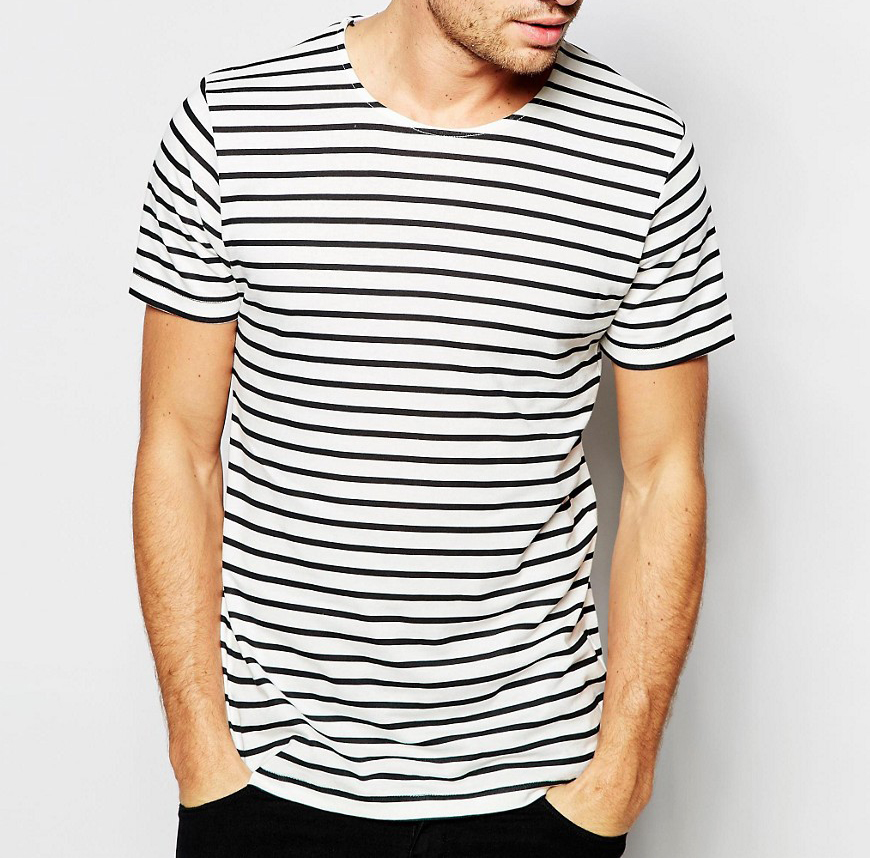 Simple Fresh Style Stripe Longline Tall Men's Slim Fit Custom Embroidery Men's Cotton t shirts tee shirt