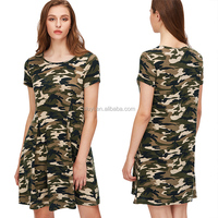 new design women olive green camo print pleated front dress ladies summer ankle length blank casual tee dresses for beach party