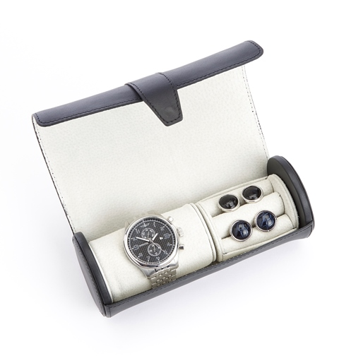 Luxury Genuine Black Leather Travel Watch Roll and Cufflink Storage with Rich Suede Lining