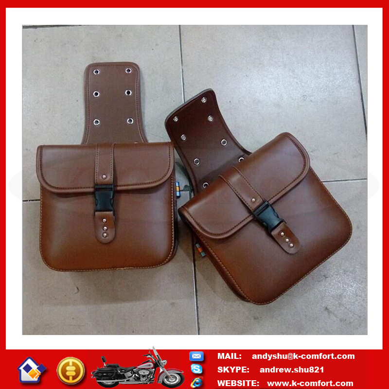 KTMB26 High quality Factory supply Motorbike brown genuine leather saddle bags for Harley Touring