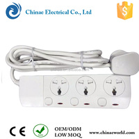 CE RoHs universal extension socket to UK 3 pins UK plug socket lead with safety shutter 2way