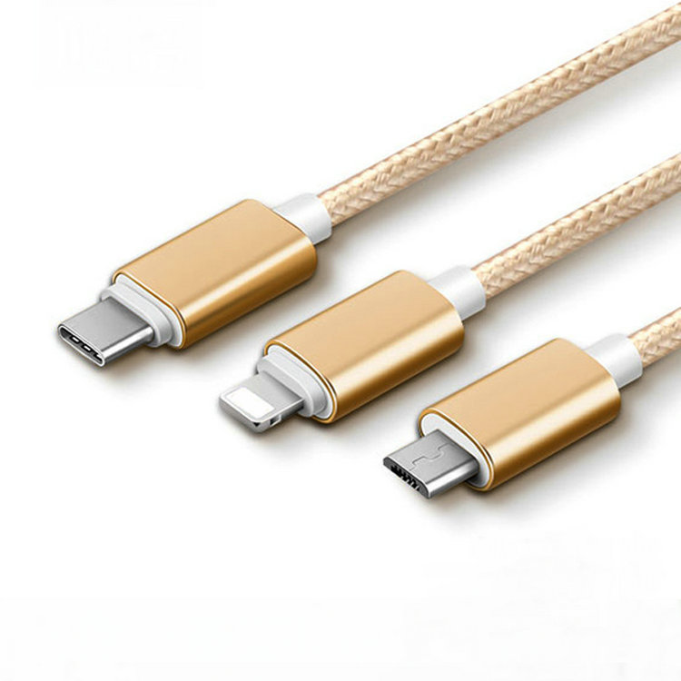 Factory price nylon braided 3 in 1 usb data cable for mirco for iPhone for type C