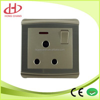 New type Stainless drawbench british specif standard 1-gang 3 pin socket outlet with switch and indicator light