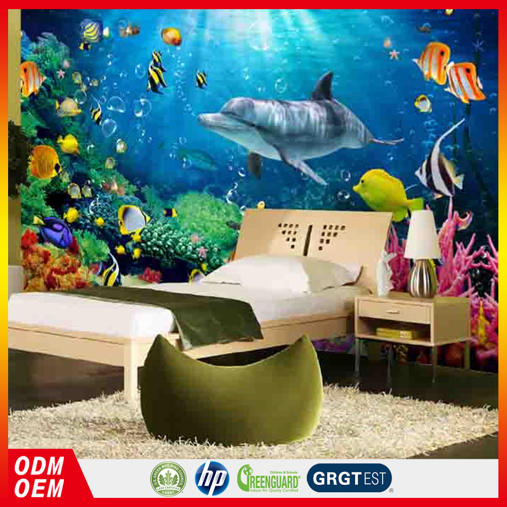 Waterproof vinyl wallpaper Undersea world dolphin decorative 3d wall paper kids room