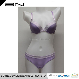 China Professional Underwear Manufacture OEM Knitted Hot Sexi Girl Wear Bra Panty Set
