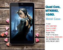 Alibaba Best selling products 7 inch quad core IPS 3G android tablet with metal case
