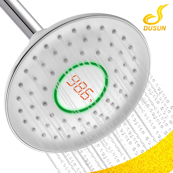 Center Led Temperature Display Big Round waterfall Rainfall Shower head,shower hand
