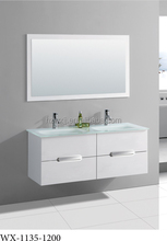Made in China Italian style glossy white bathroom vanity cabinet, wall mount double sink bathroom vanity