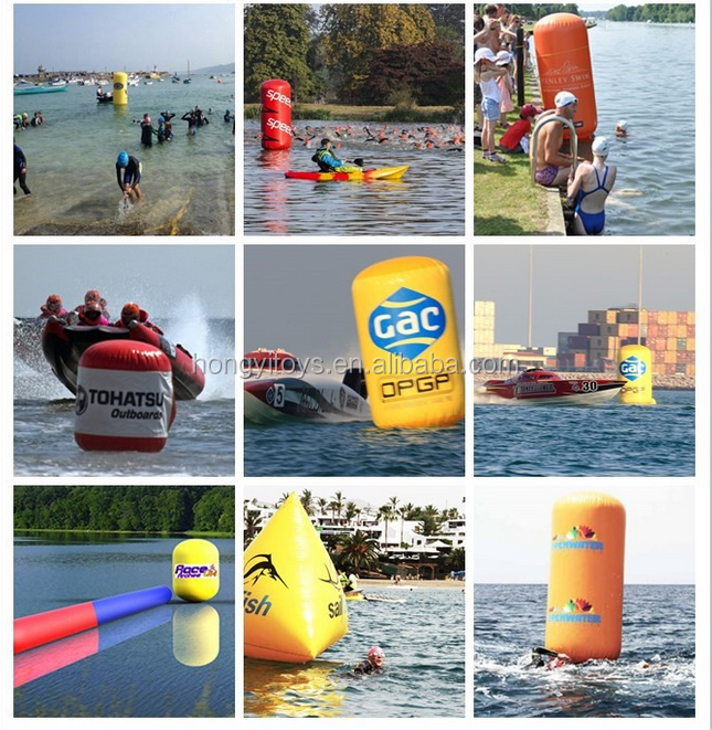 Triangle Shape Inflatable Water Triathlon Buoy , Floating Markers Buoy For Water Race
