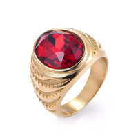 new fashion 18k red stone gold ring for men and women SRA158