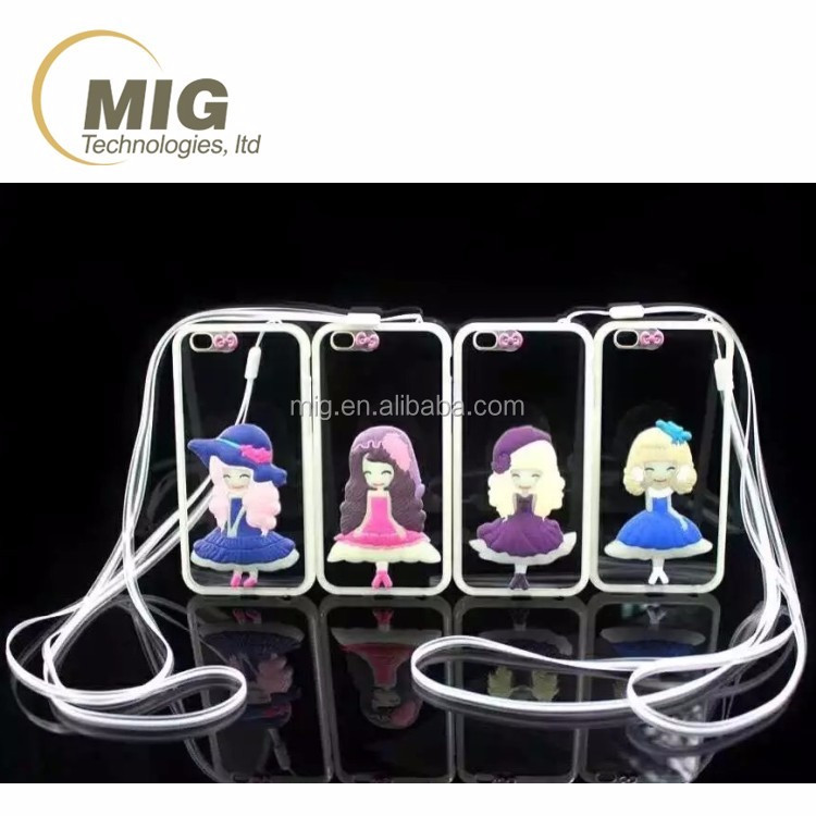 Sublimation cute sisters girls Incoming call mobile phone case for iphone 5 5s 6 6s plus with led shining light
