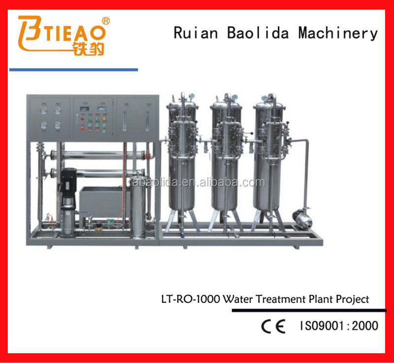 ISO Certification RO-1000L Water treatment machine for battery water plant