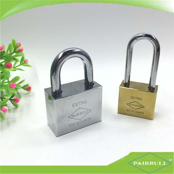 cube shaped silvery&golden long padlock shopping cart dimple key door lock