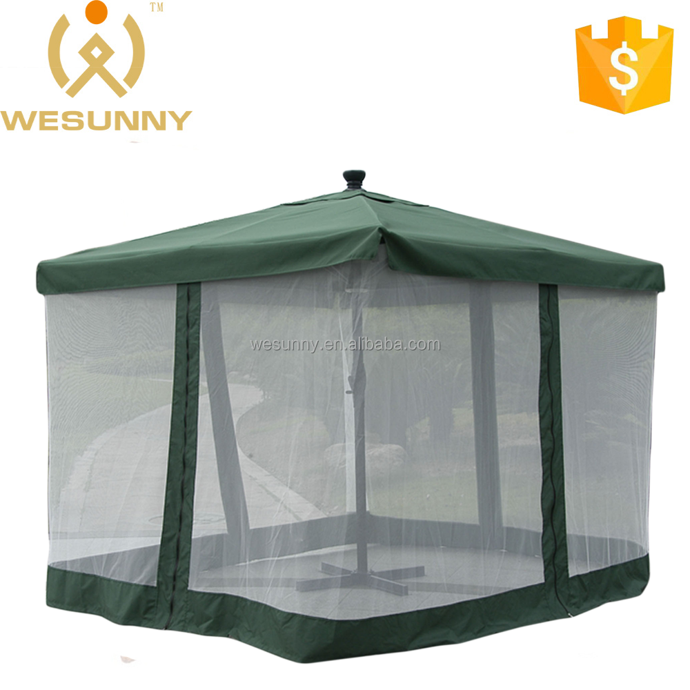 New Design Deluxe Solar Automatic Market Umbrella With Mosquito Net