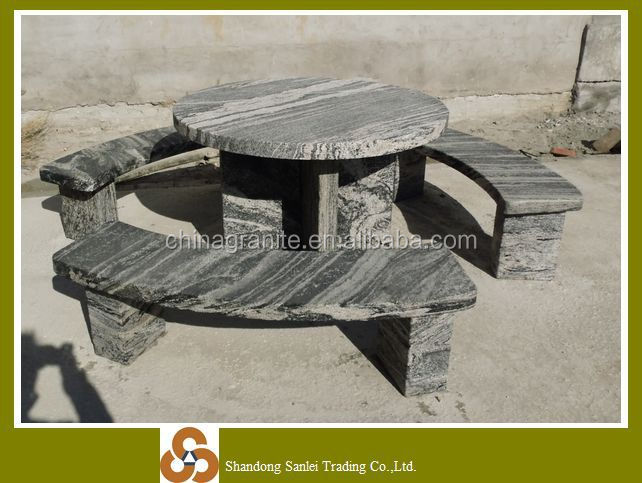 Natural stone carving round hand carved dining table