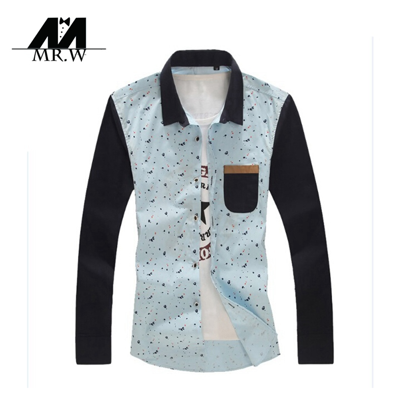 2015 New Arrival Plus Size Slim Men Casual Shirt Mens Floral Shirts Fashion Long Sleeve Dress Shirts Famous Brand M-5XL M-LC067